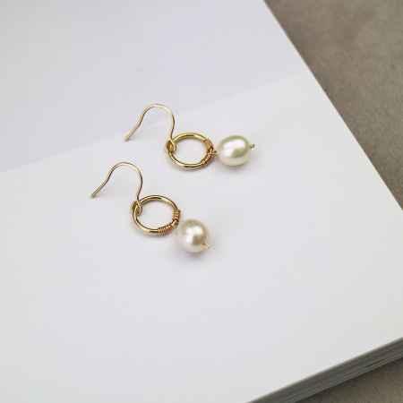 包金珍珠耳环